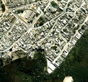 Jardim Boa Sorte, vista aérea antes da intervenção, arquiteto Pascoal Guglielmi, Guarapiranga, São Paulo