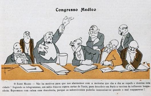 Charge da revista Careta sobre a despreocupação das autoridades de saúde [<i>Careta</i>, ed.539, 1918.]