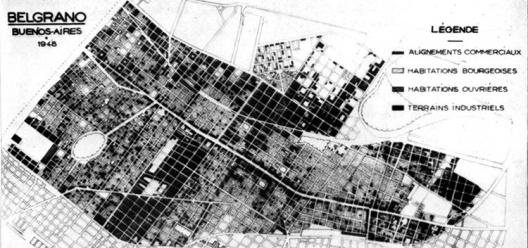Estudo sobre o bairro de Belgrano de Buenos Aires realizado no Instituto Superior de Urbanismo (ISU) de Paris em 1948