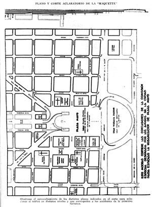 """Projeto de transformação da Plaza de Mayo proposto por """"Los Amigos de la Ciudad"""", 1935"""