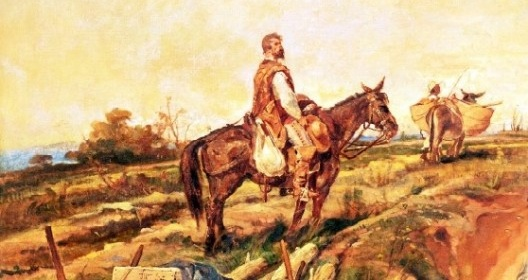 """No canto esquerdo superior da pintura, atrás do senhor branco a cavalo, o único negro da pintura, provavelmente escravo e alheio ao fato histórico, conduz touro com carga no lombo. Pedro Américo, """"Independência ou Morte"""" (detalhe), 1888<br />Imagem divulgação  [Museu Paulista da USP]"""