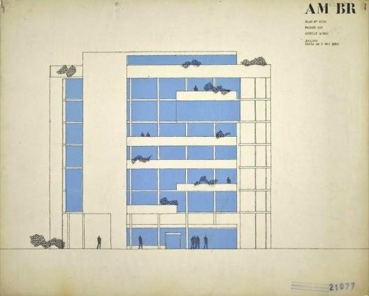 Embaixada da França, Chancelaria, elevação, Brasília, 1962-1964, arquiteto Le Corbusier<br />Imagem divulgação  [Fondation Le Corbusier]