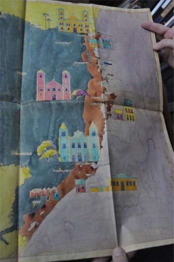 Mapa integrante do livro Açorianos, publicado com o título de Construções Antigas em Santa Catarina<br />Foto João Serraglio e Bernardo Brasil  [Arquivo Hans Broos]