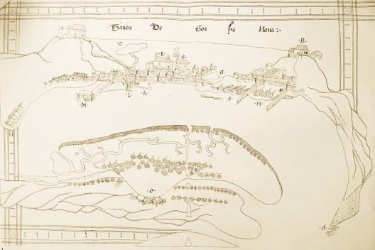 """""""Tavoa de Goa há Nova"""", ilustração existente no Roteiro de Goa a Dio (1538-39) de D. João de Castro [""""Roteiro de Goa a Dio"""" (fac-simile publicado por Diogo Köpke em 1843)]"""