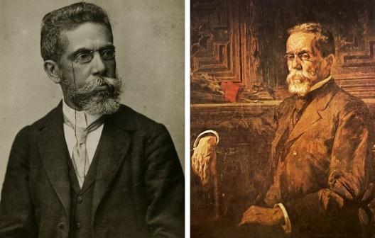 À esquerda, Machado de Assis (1839-1908), aos 57 anos, c.1896; à direita, Machado de Assis, c. 1905, pintura de Henrique Bernardelli, detalhe<br />Imagens divulgação  [Domínio público]