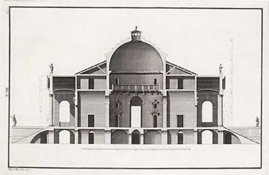 Section of Villa Rotonda, Andrea Palladio, 1778<br />Drawing by Ottavio Bertotti Scamozzi  [Wikimedia Commons]
