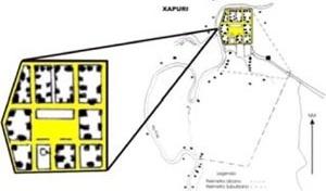 Planta da cidade de Xapuri, idealizada por Gastão Lobão, 1903<br />Montagem baseada no mapa do IBGE, 1987