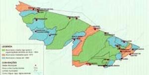 Cartograma de criação dos municípios do Acre [Atlas Geográfico Ambiental do Acre, 1991, in: ZEE, 2000, p.265]