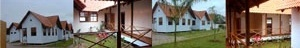 APADEQ Feminina, todo em madeira com cobertura de telha de barro, 2002, pela arquiteta Ana Lucia Costa. Planta baixa, cobertura e locação [APADEQ]