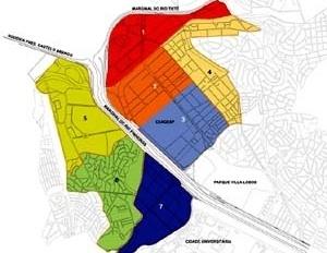 Operação Urbana Vila Leopoldina – Jaguaré. Ordenamento urbanístico, solo privado: setorização [SEMPLA/PMSP]