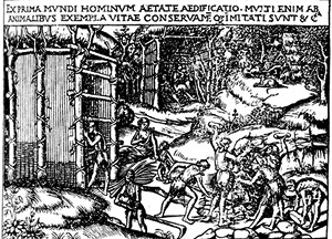 A construção da cabana primitiva, segundo Cesariano
