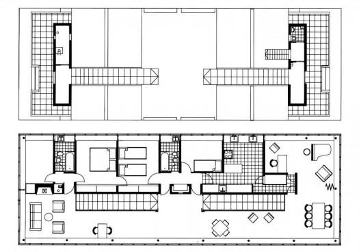 Casa ponte (Casa sobre o arroio), plantas térreo e piso superior, Mar del Plata, 1947. Arquiteto Amancio Williams<br />Imagem divulgação  [revista Óculum 7/8]