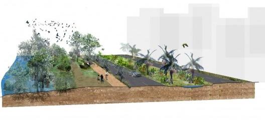 Ilustração do novo paradigm de infraestrutura urbana verde para reconectar diversas funções: estradas, mobilidade limpa, pedestres e bicicletas, biodiversidade e água<br />Ilustração da Embya Studio, Rio de Janeiro  [divulgação]