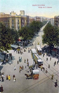 Postal de la Ronda de Sant Antoni, 1908. Adquirida en el mercado dominical del LLibre Vell del mercado de Sant Antoni en mayo de 2009.
