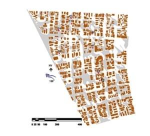 Figura 2: Figura de erosão de areia para vento com direção sudeste (150°) e velocidade de 330rpm no túnel aerodinâmico; percentual de área ventilada = 58,18%