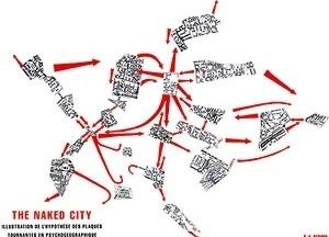 The Naked City, illustration de l'hypothèse des plaques tournantes, assinado por Guy Debord em 1957