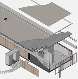Casa Bunshaft - isométrica explotada. Dibujo del autor