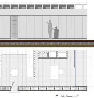 Casa Bunshaft - fachada y planta ampliados. Dibujo del autor