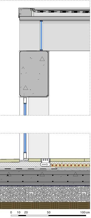 Casa Bunshaft: detalles de cubierta y piso. Dibujo del autor