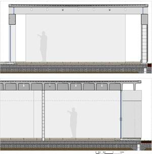 Casa Bunshaft: cortes longitudinal (arriba) y transversal (abajo) ampliados. Dibujo del autor
