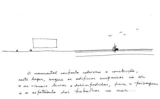 Cais das artes, Enseada do Suá, Vitória ES Brasil, 2007, em curso. Croquis n°1. Papel e madeira, caneta preta sobre feutro, 21x29,7 cm