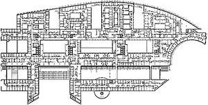 Planta, Nivel 3, Hospital Europeu Georges-Pompidou, Paris (por A. Zublena, B. Cabannes, P. Dariel, 1983-1999) [FERMAND, C.. Les hôpitaux et les cliniques : architectures de la santé, Paris, Le Moniteur]