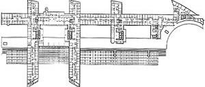 Planta, Nivel 5, Hospital Europeu Georges-Pompidou, Paris (por A. Zublena, B. Cabannes, P. Dariel, 1983-1999) [FERMAND, C.. Les hôpitaux et les cliniques : architectures de la santé, Paris, Le Moniteur]