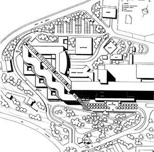 Implantação, Unidade Mães-Filhos e Urgência Geral, Hospital Norte, Marseille (por Groupe 6, 1991-1996) [FERMAND, C.. Les hôpitaux et les cliniques: architectures de la santé, Paris, Le Moniteur,]