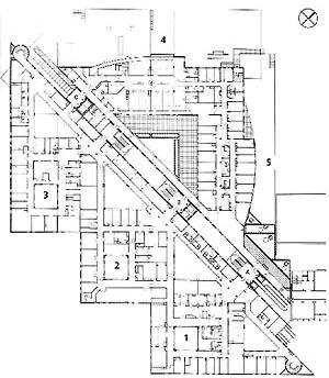 Planta Nivel 1, Unidade Mães-Filhos e Urgência Geral, Hospital Norte, Marseille (por Groupe 6, 1991-1996) [FERMAND, C.. Les hôpitaux et les cliniques : architectures de la santé, Paris, Le Moniteur]