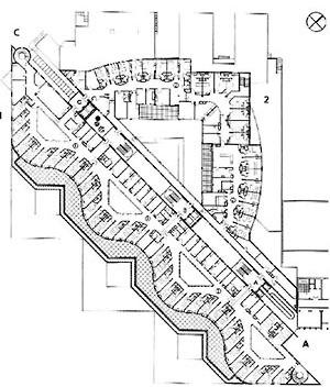 Planta Nivel 2, Unidade Mães-Filhos e Urgência Geral, Hospital Norte, Marseille (por Groupe 6, 1991-1996) [FERMAND, C.. Les hôpitaux et les cliniques : architectures de la santé, Paris, Le Moniteur]