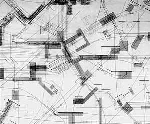 As maquetes e desenhos de Constant expõem uma suposta topografia de Nova Babilônia, investigando suas possibilidades/situações existenciais e espaciais. Constant, Groep Sectoren [grupo de setores], 1960 [Mark WIGLEY, Catherine de ZEGHER (ed.). The Activist Drawing. Retracing Situacionist Archi]