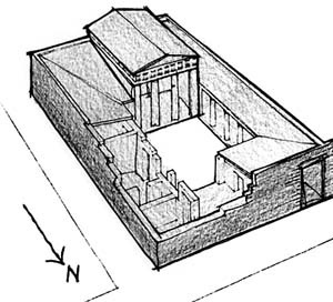 Perspectiva da casa nº 33, Priene [adaptado de CHING, 1996, p. 154]