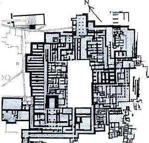 Palácio do rei Minos, Cnossos, Creta; c.1500 a.C [adaptado de CHING, 1996, p. 217]