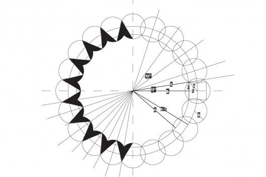 Esquema de montagem do símbolo da FAU USP [Blog do Luluba / Luis Novaes]