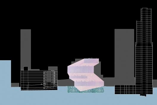 Biblioteca Pública, elevação, Seattle. Rem Koolhaas / OMA, 2004<br />Desenho OMA  [Image courtesy of the Office for Metropolitan Architecture (OMA)]