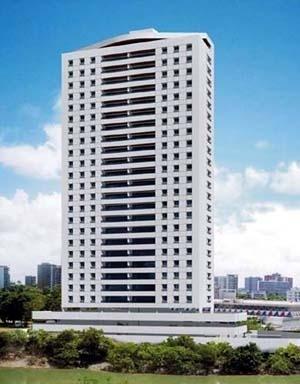 Figura 14 – Perspectiva promocional do Edifício Cristiano, em Casa Forte – torre de apartamentos sobre bloco horizontal de garagens. Construção: Conic&SouzaFilho