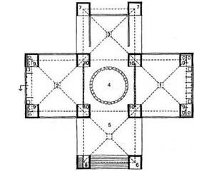 Planta baixa da casa de banhos do centro para a comunidade Judaica em Trenton [DEVILLERS, Charles et alli. Op. cit., p. 145]