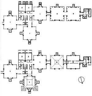 Planta do pavimento tipo do edificio para os laboratórios Richards, na Filadélfia [DEVILLERS, Charles et alli. Op. cit., p. 145]