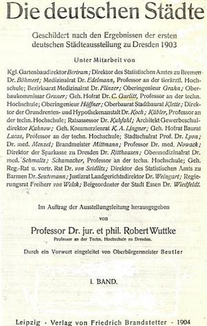 Capa do livro de Wuttke, apresentando os trabalhos expostos na Exposição de Dresden em 1903 [WUTTKE, 1903]