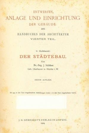 Página de rosto do importante manual de Stübben, cuja primeira edição é de 1890 [STÜBBEN, 1924]