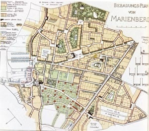 Plano que Camillo Sitte elaborou para Marienberg, em 1903 [Der Städtebau, 1904, p.73 e 74, apud PICCINATO, 1974,  p.144]