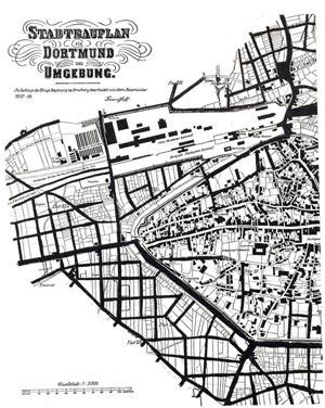 Plano de Extensão de Dortmund elaborado por  Baumeister em 1858 [FEHL, 1983, V2, p.71]