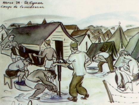 Eduardo Robles Piquer. Dibujo de Campo de concentración. Saint Cyprien (1939)