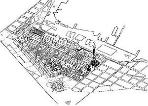 Proposta volumétrica para o Plano Phoenix nos arredores da Aguada, Montevideo. BTA Architects, Inc., Cambridge, Mass., EUA., 1997
