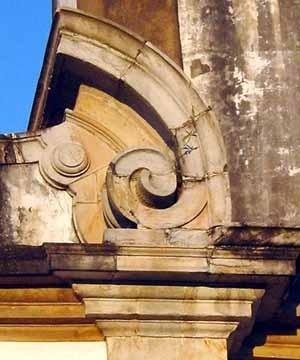 Detalhe de cantaria na Igreja do Carmo, Ouro Preto<br />Foto Oficina de Cantaria de Ouro Preto