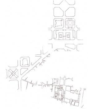 Primera intuición sobre las relaciones espaciales en torno al mercado de Sant Antoni. [dibujo de la autora]