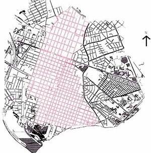 Tabuleiro e zonas de expansão da cidade de Pelotas. Zona de fundação se mantém intacta até hoje