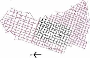 Tabuleiro: áreas central e adjacente. Nesta última começa a ser aplicado um código que altera a estrutura do espaço urbano.