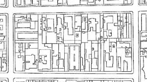 """Quarteirão área adjacente, onde a exigência de recuos e a fusão de lotes vão alterando a """"imagem"""" do quarteirão"""