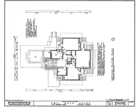 Emil Bach House, planta segundo pavimento, North Sheridan Road, Chicago, Estados Unidos, 1915. Arquiteto Frank Lloyd Wright<br />Redesenho J. William Rudd, 1965  [Library of Congress / U.S. Government]